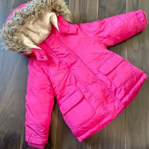Old Navy Toddler Girl's Hooded Pink Snow Jacket
